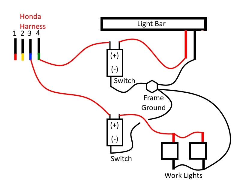 p500 wiring in an led light bar and work lights the honda side Multiple Light Wiring Diagram