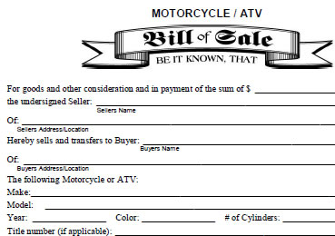 bill of sale for side by side or atv the honda side by side club