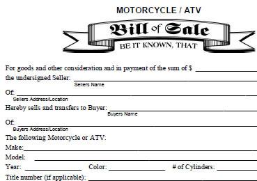 motorcycle bill of sale as is