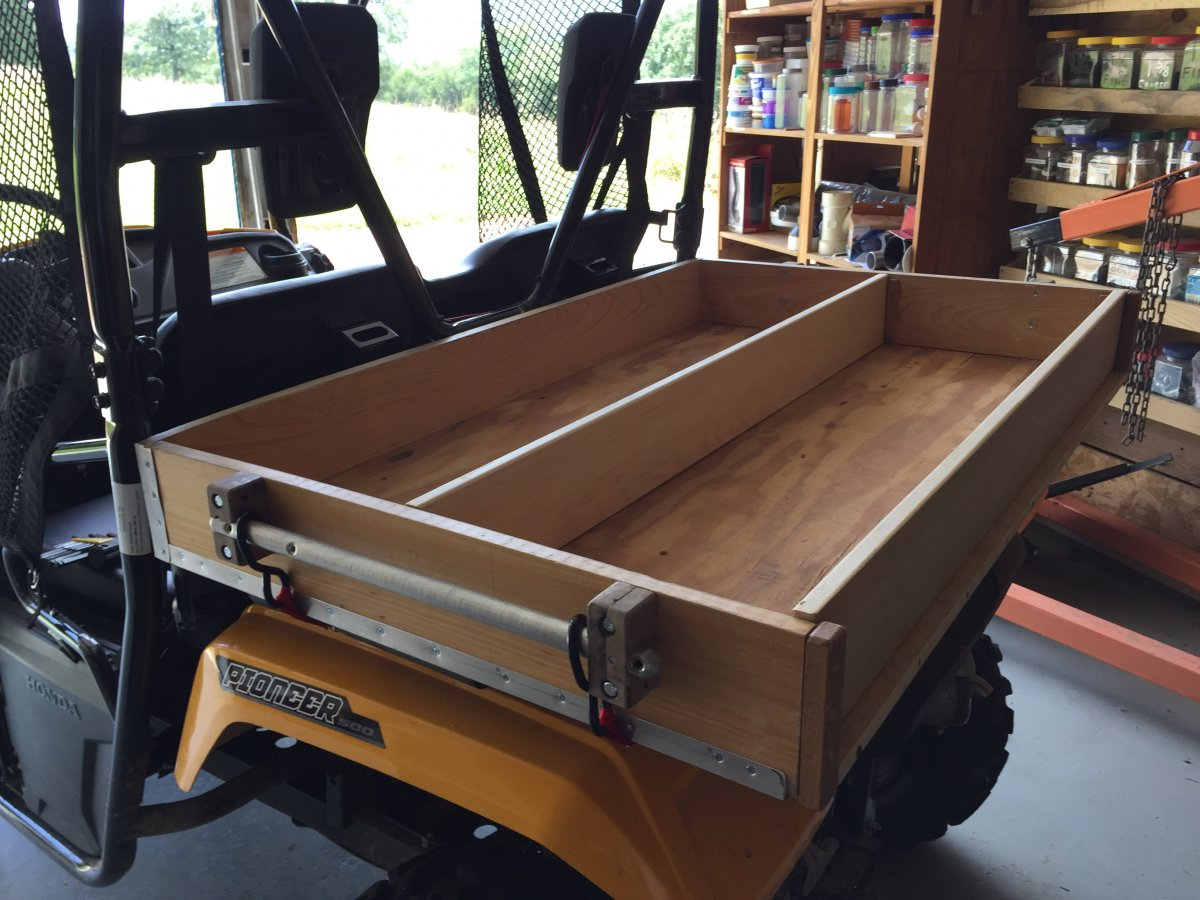 Just finishing a wood cargo box to meet my own needs for new P500. It has a 48  x 32  x 1/2  plywood base with strategically located cleats on the underside ... & P500 - Homemade Cargo Box | The Honda Side by Side Club!